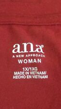 A.N.A. Womens Shirt Round Neck Red Long Sleeve Stretch Knit Basic 1X