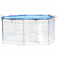 Small pet enclosure run cage rabbit guinea pig hutch outdoor playpen metal blue