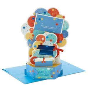Hallmark Paper Wonder Hats Off Balloons Money Holder 3D Pop-Up Graduation Card