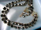 Vintage 2 strand sparkly black aurora borealis glass necklace
