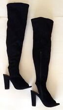 BAMBOO Chunky Heel Knee-High Peep Toe Boots - Black Faux Suede Size 6 1/2 (S/B)