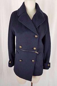 Jeong Gam Double Breasted Winter Wool Navy Peacoat Coat Womens XS S Slim Cut