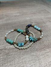 3 Stretch Bracelets Faux Turquoise & Faux Pearls