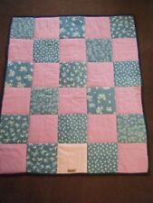 handmade patchwork quilted baby girls throw / blanket / mat denim & pink fabric