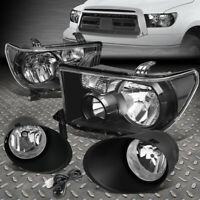 FOR 08-17 TOYOTA SEQUOIA TUNDRA 2PCS FACTORY STYLE HEADLIGHT+FOG LAMP W/SWITCH