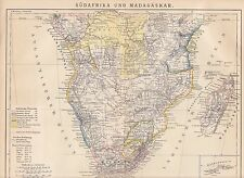 Südafrika LANDKARTE von 1882 Kapland DSWA Damara Land DOA Angola