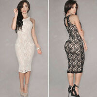 UK Womens Lace Bodycon Peplum Formal Cocktail Party Evening Midi Pencil Dress