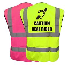 CAUTION DEAF RIDER YELLOW PINK HI VIZ VIS WAISTCOAT VEST SAFETY BIKE CYCLE