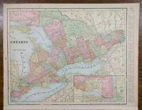 """Vintage 1900 ONTARIO CANADA Atlas Map 14""""x11"""" ~ Old Antique TORONTO OTTAWA"""