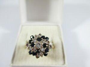 FABULOUS PRE-OWNED 9ct GOLD SAPPHIRE & CLEAR STONE CLUSTER RING SIZE P1/2  4g