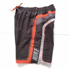 Vintage Nike Men's Swim Shorts Athletic Mens Sz L Spellout Gray Orange M34
