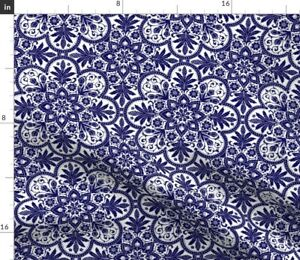 Tile Blue White Floral China Delft Spoonflower Fabric by the Yard