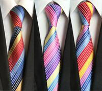 Smart Men's Woven Swirl Striped Rainbow Neck Tie Gift Christmas UK