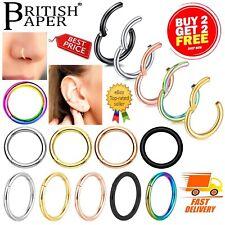 SURGICAL STEEL NOSE RING CLICKER SEPTUM HINGE SEGMENT FACE HOOP EAR LIP PIERCING