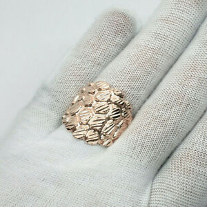 Solid 18K Rose Gold Mens Nugget Ring Diamond Cut Extra Heavy, Size 5 - 15 XXL