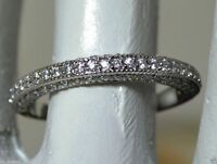 Solid 14k White Gold Diamond Wedding Band Round Brilliant Cut 0.75 cts