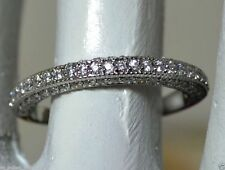 Solid 14kt White Gold Diamond Wedding Band Round Brilliant Cut 0.75 cts