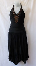 CKM Cocktail Dress Size 10 NEW Beaded Midi Black Halter Asymmetric Evening Party