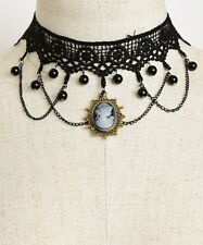 WOMEN'S FASHION BLACK LACE CHOKER NECKLACE W/MULTI GEMS AND CAMEO NWT