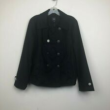 NWT Gap Women's Navy Wool Blend Double Breasted Peacoat-Size Large