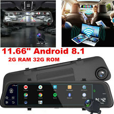 "Android 8.1 11.66"" Car GPS DVR Rearview Mirror Dash Cam Recorder Kits &Camera"