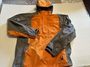 Spyder Snowboarding Ski Coat Jacket Pullover Orange Gray Large