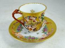 Vintage Capodimonte Italy Teacup Tea Cup & Saucer Charles III King of France Old