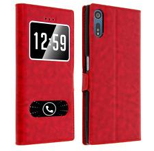 Etui Housse Coque Pochette Double Fenetre Flip Sony Xperia XA 1 Ultra - Rouge