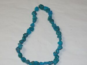 "Beautiful Vintage 16"" Drilled Strand of Turquoise Nuggets 10mm x 14mm"