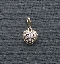 SOLID 925 STERLING SILVER BIG CRYSTAL HEART CHARM WITH CUBIC STONES