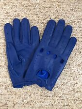 Men's Driving Blue leather Gloves  Size Large