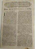 1784 GAZZETTA UNIVERSALE SU GUERRE; ANGOLA E TRATTA DEI NEGRI; BANDITI A MURCIA
