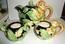 Vintage Fitz & Floyd Ceramic Monkey Teapot Creamer Sugar Hand Painted