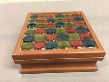 Mid Century Modern Teak Square Box w/ Glass Mosaic Tile