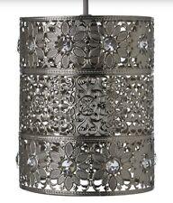 * Nuevo * metálico, en color plata colgante de luz de la Lámpara del Techo Sombra cortar marroquí