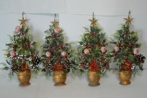 Vintage Half Christmas Topiary Plastic Hanging Wall Decor Holly Peppermints
