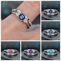 Fashion Round Cut Sapphire Women Wedding Ring 925 Silver Jewelry Size 6-10