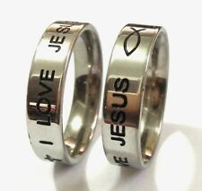 10x engrave I LOVE JESUS Fish Stainless Steel Cross Rings Men Religious Jewelry