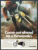 "1972 Kawasaki 350 Enduro Motorcycle photo ""Dirt/Street Bike"" vintage print ad"