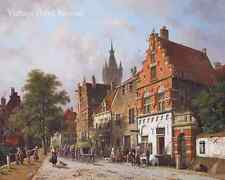 A View in Delft by Adrianus Eversen - Dutch Victorian Town City 8x10 Print 1090