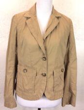 #S31 J Crew Sz M Classic Twill Chino Tan Military Jacket Blazer 100% Cotton
