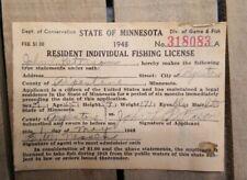 Vintage 1948 Minnesota Fishing License