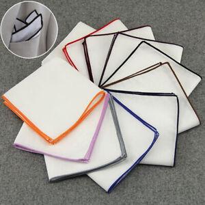 Men Pocket Square Handkerchief Cotton Multi Color Edge Wedding Party