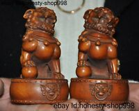Old China Boxwood wood carved fengshui foo dog lion auspicious lucky set statue