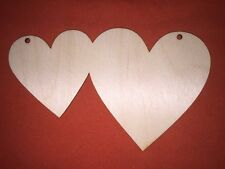 5 x large TWIN LOVE HEARTS WOODEN SHAPE PLAIN EMBELLISHMENTS CRAFT HANGING TAG