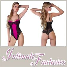 CORSETTI Karri Body Pink With Detailed Black Lace Thong Back Lingerie L / XL (uk Size 12 to 14)