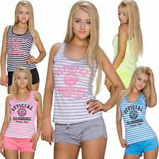 Gestreifte Ärmellose Damenblusen,-Tops & -Shirts mit Baumwolle für Freizeit