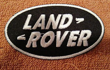 MOTORSPORTS RACING CAR SEW ON / IRON ON PATCH:- LAND ROVER BLACK & WHITE OVAL