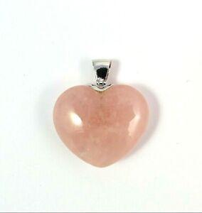 Edler Rosenquarz Herz Anhänger mit hochwertiger 925er Öse, Symbol der Liebe