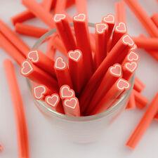 5pz bastoncini Fimo nail art unghie stick  5x0.5cm  decorazione cuore